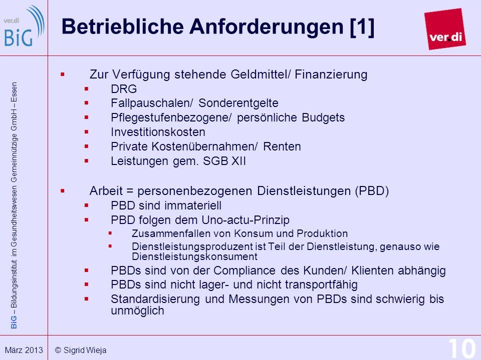 Betriebliche Anforderungen [1]